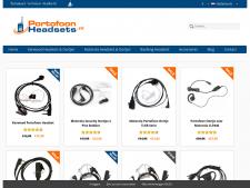 Screenshot van de website van Portofoon Headsets