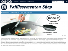 Screenshot van de website van Faillissementen Shop