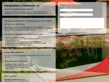 Screenshot van de website van Hangmatten Leverancier