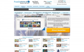 Screenshot van de website van Puzzle Store