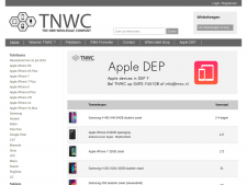 Screenshot van de website van TNWC