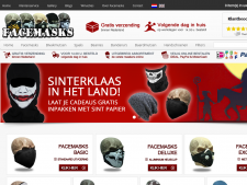 Screenshot van de website van Facemasks