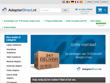Screenshot van de website van Adapter Direct