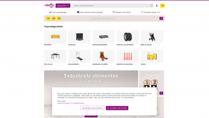 Screenshot van de website van VidaXL