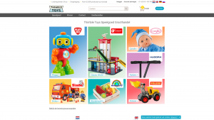 Screenshot van de website van Thimble Toys