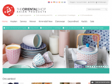 Screenshot van de website van The Oriental Shop