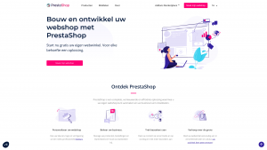 Screenshot van de website van Prestashop