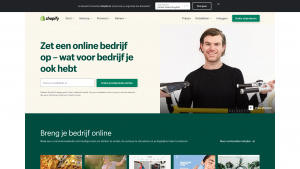 Screenshot van de website van Shopify