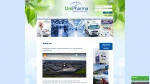 Screenshot van de website van Unipharma