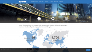 Screenshot van de website van Ingram Micro
