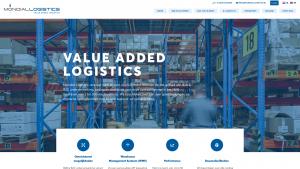 Screenshot van de website van Mondial Logistics