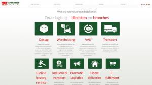 Screenshot van de website van Van der Schreur Logisitek