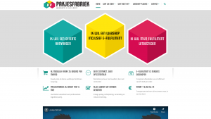 Screenshot van de website van Pakjesfabriek