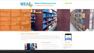 Screenshot van de website van WEAF fulfilmentservices