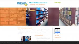 Screenshot van de website van WEAF fulfilmentservices