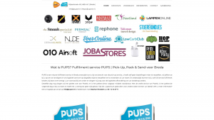 Screenshot van de website van PUPS fulfilment