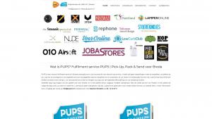 Screenshot van de website van PUPS fulfilment